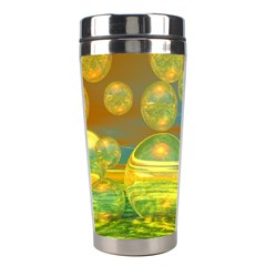 Golden Days, Abstract Yellow Azure Tranquility Stainless Steel Travel Tumbler by DianeClancy