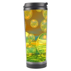Golden Days, Abstract Yellow Azure Tranquility Travel Tumbler by DianeClancy