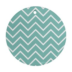Blue And White Chevron Round Ornament by zenandchic
