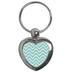 Blue And White Chevron Key Chain (heart) by zenandchic