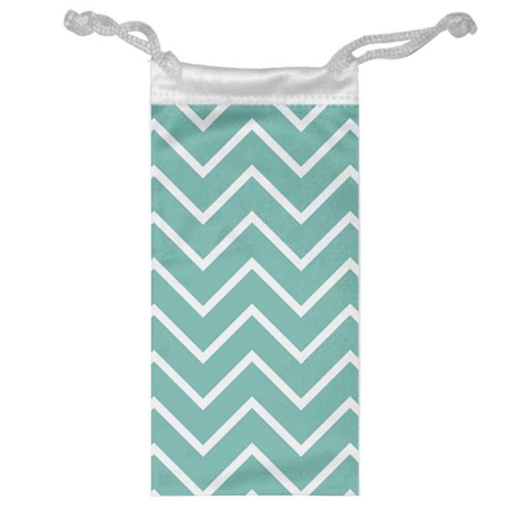Blue And White Chevron Jewelry Bag