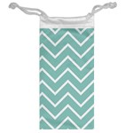 Blue And White Chevron Jewelry Bag Back