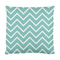 Blue And White Chevron Cushion Case (single Sided)  by zenandchic