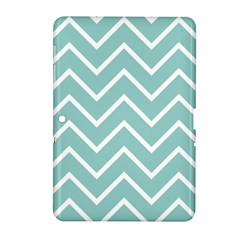 Blue And White Chevron Samsung Galaxy Tab 2 (10 1 ) P5100 Hardshell Case  by zenandchic