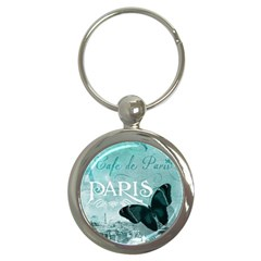 Paris Butterfly Key Chain (round) by zenandchic