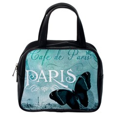 Paris Butterfly Classic Handbag (one Side) by zenandchic
