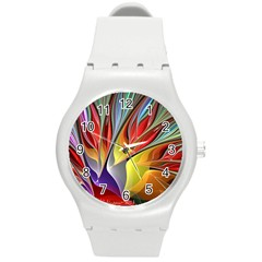 Fractal Bird Of Paradise Round Plastic Sport Watch (m)