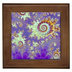 Sea Shell Spiral, Abstract Violet Cyan Stars Framed Ceramic Tile by DianeClancy