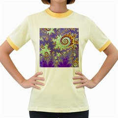 Sea Shell Spiral, Abstract Violet Cyan Stars Women s Ringer T-shirt (colored) by DianeClancy