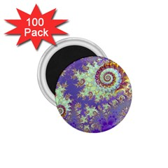 Sea Shell Spiral, Abstract Violet Cyan Stars 1 75  Button Magnet (100 Pack) by DianeClancy