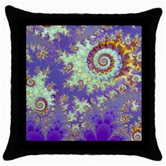 Sea Shell Spiral, Abstract Violet Cyan Stars Black Throw Pillow Case