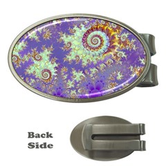 Sea Shell Spiral, Abstract Violet Cyan Stars Money Clip (oval) by DianeClancy