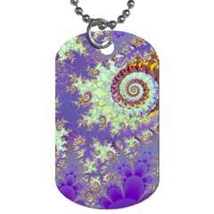 Sea Shell Spiral, Abstract Violet Cyan Stars Dog Tag (two Sided)  by DianeClancy