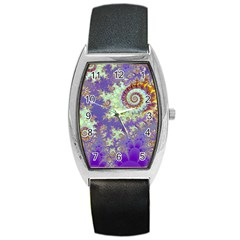 Sea Shell Spiral, Abstract Violet Cyan Stars Tonneau Leather Watch by DianeClancy