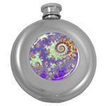 Sea Shell Spiral, Abstract Violet Cyan Stars Hip Flask (Round) Front
