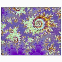 Sea Shell Spiral, Abstract Violet Cyan Stars Canvas 8  X 10  (unframed) by DianeClancy