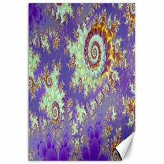 Sea Shell Spiral, Abstract Violet Cyan Stars Canvas 20  X 30  (unframed) by DianeClancy