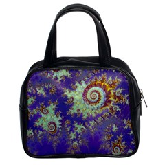 Sea Shell Spiral, Abstract Violet Cyan Stars Classic Handbag (two Sides) by DianeClancy