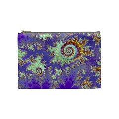 Sea Shell Spiral, Abstract Violet Cyan Stars Cosmetic Bag (medium) by DianeClancy