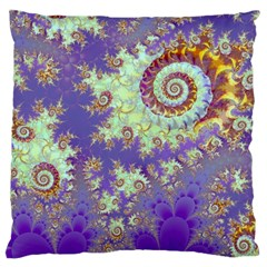 Sea Shell Spiral, Abstract Violet Cyan Stars Large Cushion Case (two Sided)  by DianeClancy