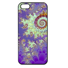 Sea Shell Spiral, Abstract Violet Cyan Stars Apple Iphone 5 Seamless Case (black) by DianeClancy