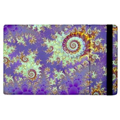Sea Shell Spiral, Abstract Violet Cyan Stars Apple Ipad 2 Flip Case by DianeClancy