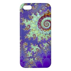 Sea Shell Spiral, Abstract Violet Cyan Stars Iphone 5s Premium Hardshell Case by DianeClancy