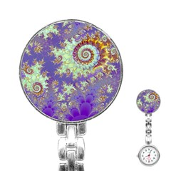 Sea Shell Spiral, Abstract Violet Cyan Stars Stainless Steel Nurses Watch by DianeClancy