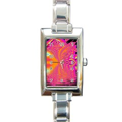 Magenta Boardwalk Carnival, Abstract Ocean Shimmer Rectangular Italian Charm Watch by DianeClancy