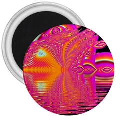 Magenta Boardwalk Carnival, Abstract Ocean Shimmer 3  Button Magnet by DianeClancy