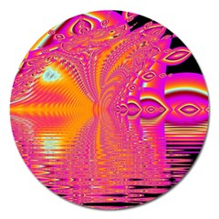 Magenta Boardwalk Carnival, Abstract Ocean Shimmer Magnet 5  (round) by DianeClancy