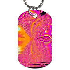 Magenta Boardwalk Carnival, Abstract Ocean Shimmer Dog Tag (two Sided)  by DianeClancy