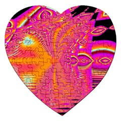 Magenta Boardwalk Carnival, Abstract Ocean Shimmer Jigsaw Puzzle (heart) by DianeClancy