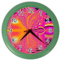 Magenta Boardwalk Carnival, Abstract Ocean Shimmer Wall Clock (color) by DianeClancy
