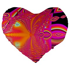 Magenta Boardwalk Carnival, Abstract Ocean Shimmer 19  Premium Heart Shape Cushion by DianeClancy