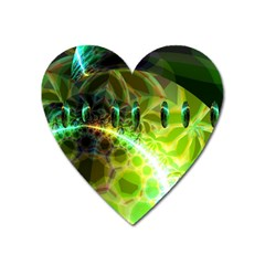 Dawn Of Time, Abstract Lime & Gold Emerge Magnet (heart) by DianeClancy