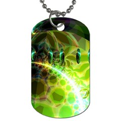 Dawn Of Time, Abstract Lime & Gold Emerge Dog Tag (two Sided)  by DianeClancy