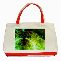 Dawn Of Time, Abstract Lime & Gold Emerge Classic Tote Bag (red) by DianeClancy