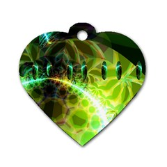 Dawn Of Time, Abstract Lime & Gold Emerge Dog Tag Heart (two Sided) by DianeClancy
