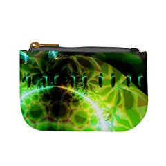 Dawn Of Time, Abstract Lime & Gold Emerge Coin Change Purse by DianeClancy