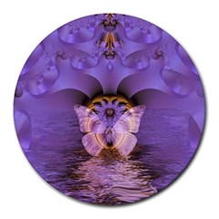 Artsy Purple Awareness Butterfly 8  Mouse Pad (round) by FunWithFibro