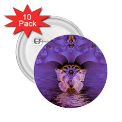 Artsy Purple Awareness Butterfly 2 25  Button (10 Pack) by FunWithFibro
