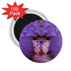 Artsy Purple Awareness Butterfly 2 25  Button Magnet (100 Pack) by FunWithFibro