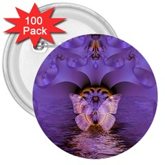 Artsy Purple Awareness Butterfly 3  Button (100 Pack) by FunWithFibro