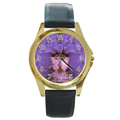 Artsy Purple Awareness Butterfly Round Leather Watch (gold Rim)  by FunWithFibro