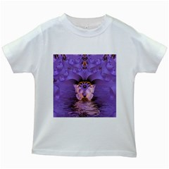 Artsy Purple Awareness Butterfly Kids T Shirt (white) by FunWithFibro