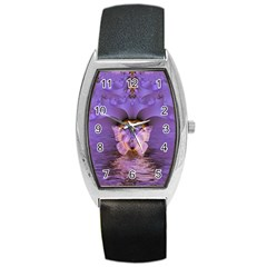 Artsy Purple Awareness Butterfly Tonneau Leather Watch by FunWithFibro