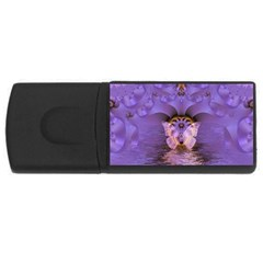 Artsy Purple Awareness Butterfly 4gb Usb Flash Drive (rectangle) by FunWithFibro