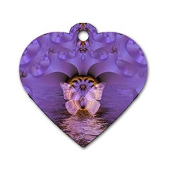 Artsy Purple Awareness Butterfly Dog Tag Heart (one Sided)  by FunWithFibro