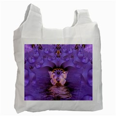 Artsy Purple Awareness Butterfly White Reusable Bag (one Side) by FunWithFibro